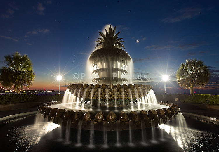 A photo of The Pineapple Fountain at sunrise. I see a lot of photos of the Pineapple Fountain, but not photos taken at sunrise. The Pineapple fountain is in the Waterfront Park in Charleston SC, and is a very popular place to visit while in Charleston.