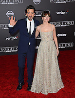 Actors Felicity Jones &amp; Diego Luna at the world premiere of &quot;Rogue One: A Star Wars Story&quot; at The Pantages Theatre, Hollywood. <br /> December 10, 2016<br /> Picture: Paul Smith/Featureflash/SilverHub 0208 004 5359/ 07711 972644 Editors@silverhubmedia.com