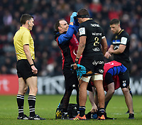 Zach Mercer of Bath Rugby is treated. Heineken Champions Cup match, between Stade Toulousain and Bath Rugby on January 20, 2019 at the Stade Ernest Wallon in Toulouse, France. Photo by: Patrick Khachfe / Onside Images