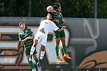 20 September 2015: Stetson's Sebastian Contreras (5) and Campbell's Ish Rodriguez (30) challenge for a header over Stetson's Nathan Monsanto (25). The Campbell University Camels hosted the Stetson University Hatters at Eakes Athletics Complex in Buies Creek, NC in a 2015 NCAA Division I Men's Soccer game. Campbell won the game 1-0.