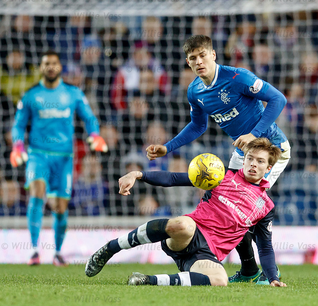 Craig Wighton with Rangers defender Rob Kiernan