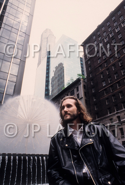 "Manhattan, New York City - June, 1993. Picture of French actor Jean Marie Lamour, presenting the play ""Jesus Was My Name"", directed by Robert Hossein. JM Lamour is best known for his roles in Swimming Pool, the Tourist and Suivez la fèche."
