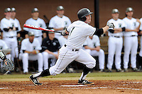 Second baseman Erik Samples (1) of the University of South Carolina Upstate Spartans bats in a game against the Winthrop University Eagles on Wednesday, March 4, 2015, at Cleveland S. Harley Park in Spartanburg, South Carolina. Upstate won, 12-3. (Tom Priddy/Four Seam Images)