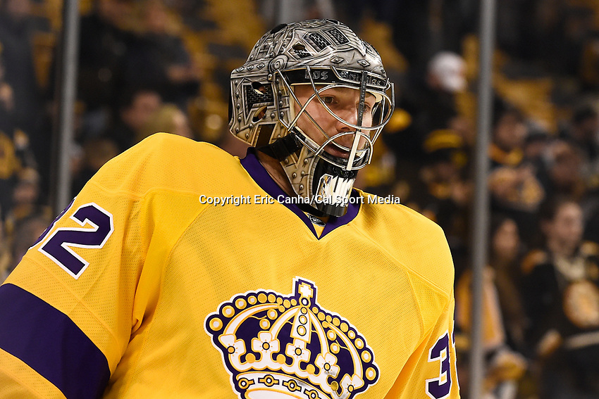 Tuesday, February 9, 2016: Los Angeles Kings goalie Jonathan Quick (32) skates in warm-ups prior to the National Hockey League game between the Los Angeles Kings and the Boston Bruins, held at TD Garden, in Boston, Massachusetts. The Kings defeat the Bruins 9-2. Eric Canha/CSM