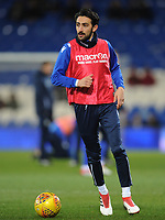 Bolton Wanderers' Jem Karacan during the pre-match warm-up <br /> <br /> Photographer Kevin Barnes/CameraSport<br /> <br /> The EFL Sky Bet Championship - Cardiff City v Bolton Wanderers - Tuesday 13th February 2018 - Cardiff City Stadium - Cardiff<br /> <br /> World Copyright &copy; 2018 CameraSport. All rights reserved. 43 Linden Ave. Countesthorpe. Leicester. England. LE8 5PG - Tel: +44 (0) 116 277 4147 - admin@camerasport.com - www.camerasport.com