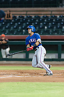 AZL Rangers designated hitter Reynaldo Pichardo (50) follows through on his swing during an Arizona League game against the AZL Giants Black at Scottsdale Stadium on August 4, 2018 in Scottsdale, Arizona. The AZL Giants Black defeated the AZL Rangers by a score of 6-3 in the second game of a doubleheader. (Zachary Lucy/Four Seam Images)