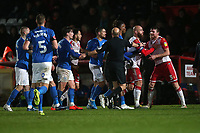 Tempers flare during Stevenage vs Peterborough United, Emirates FA Cup Football at the Lamex Stadium on 9th November 2019