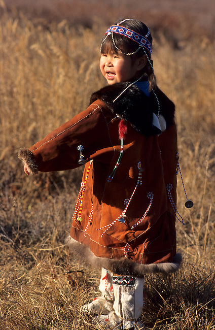 Lena Vavako, a four year old Koryak girl, wearing traditional dress. Koryakia, Kamchatka, Siberia, Russia.