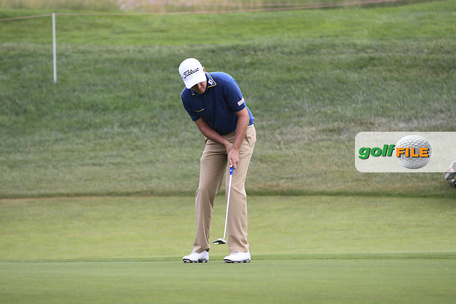 Daniel Brooks (ENG) on the 12th green during Round 1 of the Open de Espana  in Club de Golf el Prat, Barcelona on Thursday 14th May 2015.<br /> Picture:  Thos Caffrey / www.golffile.ie
