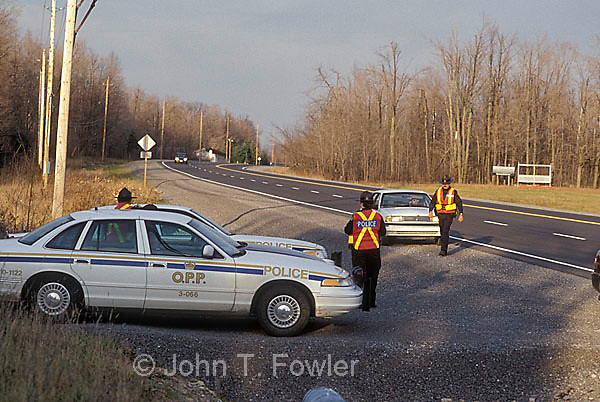 Police conducting highway speed control