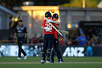 England captain Eoin Morgan congratulates Dawid Malan (29) on his century during the 4th Twenty20 International cricket match between NZ Black Caps and England at McLean Park in Napier, New Zealand on Friday, 8 November 2019. Photo: Dave Lintott / lintottphoto.co.nz