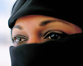 SAUDI ARABIA, Riyadh, close-up of young woman wearing hijab