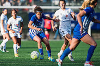 Allston, MA - Sunday, May 22, 2016: Boston Breakers midfielder Angela Salem (26) and FC Kansas City midfielder Mandy Laddish (7) during a regular season National Women's Soccer League (NWSL) match at Jordan Field.