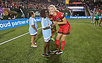Portland, OR - Saturday July 02, 2016: Dagny Brynjarsdottir, Girls of the Game during a regular season National Women's Soccer League (NWSL) match between the Portland Thorns FC and Sky Blue FC at Providence Park.
