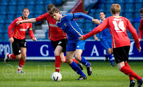 29 APR 2009 - LONDON,GBR - Mikel Suarez - Loughborough University (blue) v UWE Hartpury (red and black) - BUCS Mens Football Championships '09. (PHOTO (C) NIGEL FARROW)