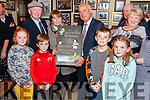 The Garry McMahon 11th. Annual Singing Weekend was officially opened last weekend in The Ramble Inn Abbeyfeale by Kerry football legend Ogie Moran.  Ogie Moran receiving a presentation from Mrs Joan McMahon (Garry's wife) & Singing Club Chairman Tom McKenna from Currow. In foreground are Garry McMahon's grandchildren Nell & Cathal McMahon and Garry & Orlaith McAuliffe.