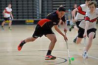 Action from the Floorball New Zealand Secondary Schools Floorball Championship at ASB Sports Centre, Kilbirnie, Wellington, New Zealand on Sunday 20 September 2014.<br /> Photo by Masanori Udagawa.<br /> www.photowellington.photoshelter.com