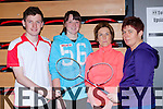 Fergal Haman Listowel, Maeve Twomey Tarbert, Eileen O'Connor Killarney and Mary falvey Kingdom at the Munster Badminton championships in the Killarney Sports and Leisure centre on Saturday