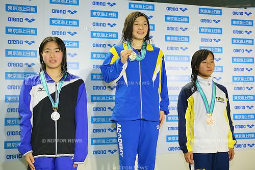 (L to R) <br /> Kana Shuno, <br /> Yumi Kawano, <br /> Miono Takeuchi, <br /> MARCH 29, 2015 - Swimming : <br /> The 37th JOC Junior Olympic Cup <br /> Women's 50m Backstroke <br /> 15-16 years old award ceremony <br /> at Tatsumi International Swimming Pool, Tokyo, Japan. <br /> (Photo by YUTAKA/AFLO SPORT)