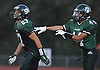 Lindenhurst No. 27 Gino Bonagura, left, gets congratulated by No. 44 Joe Palmeri after rushing for a touchdown in the second quarter of a Suffolk County Division I varsity football game against Connetquot at Lindenhurst Middle School on Friday, September 18, 2015.<br /> <br /> James Escher