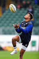 Anthony Watson of Bath Rugby claims the ball in the air during the pre-match warm-up. Aviva Premiership match, between Bath Rugby and Wasps on March 4, 2017 at the Recreation Ground in Bath, England. Photo by: Patrick Khachfe / Onside Images