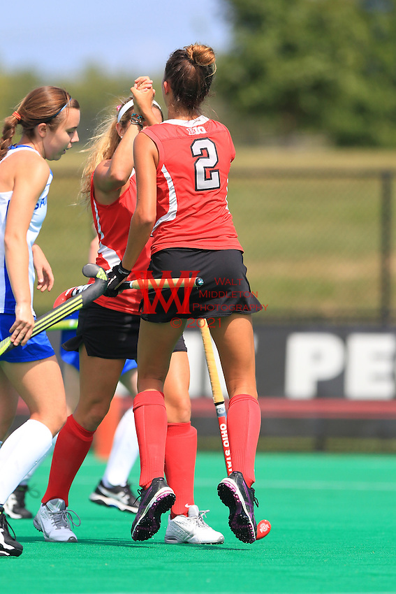 The Ohio State University field hockey Team defeats St. Louis 5-0 in their home opener. Friday August 28, 2015. <br /> Walt Middleton Photography 2015