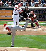 Washington Nationals first baseman Adam LaRoche (25) bats in the first inning against the Cincinnati Reds at Nationals Park in Washington, D.C. on Thursday, April 12, 2012.  The Nationals won the game in 10 innings 3 - 2..Credit: Ron Sachs / CNP