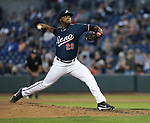 Reno Aces&rsquo; Keyvius Sampson pitches against the Las Vegas 51s in Reno, Nev. on Saturday, June 3, 2017. The 51s won 9-5.<br /> Photo by Cathleen Allison/Nevada Photo Source