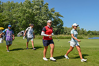 Ariya Jutanugarn (THA) and Danielle Kang (USA) head dwon 17 during round 2 of the 2018 KPMG Women's PGA Championship, Kemper Lakes Golf Club, at Kildeer, Illinois, USA. 6/29/2018.<br /> Picture: Golffile | Ken Murray<br /> <br /> All photo usage must carry mandatory copyright credit (© Golffile | Ken Murray)