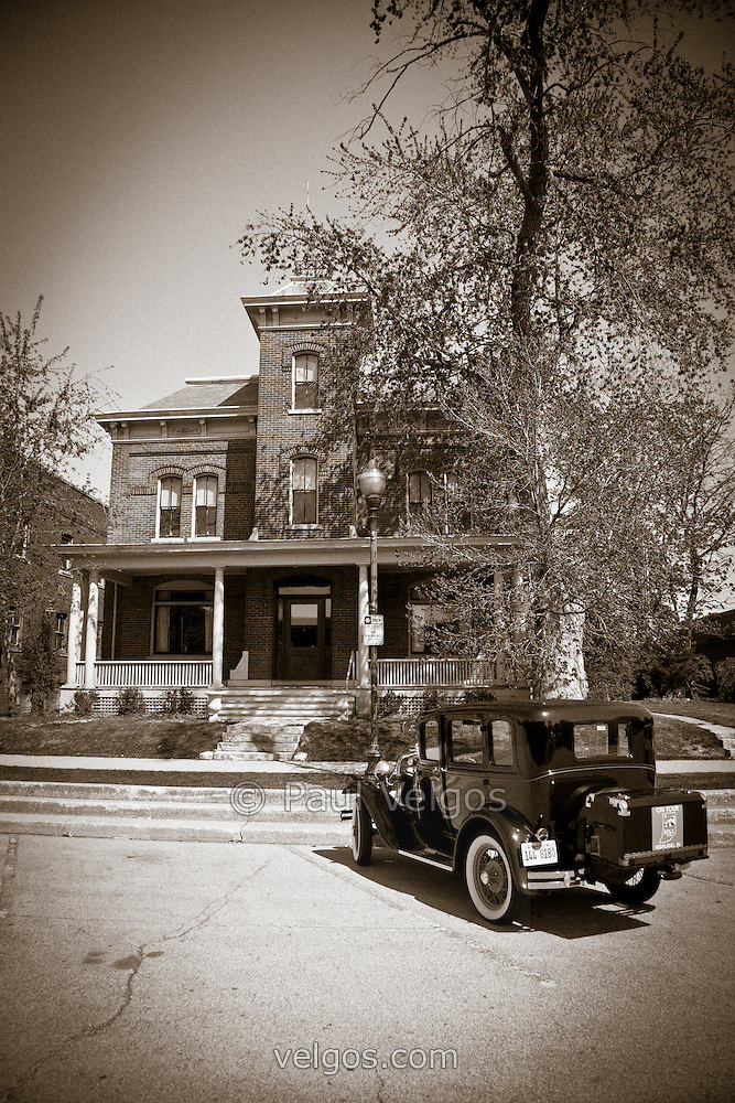 Crown Point Jail And Antique Car Black And White