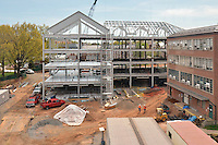 Camera View: South. Site Overview from Parking Garage, North Elevation. Central Connecticut State University. New Academic Building.  Project No: BI-RC-324. Architect: Burt Hill Kosar Rittelmann Associates. Contractor: Gilbane Building Company, Glastonbury, CT.