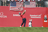 Ryan Moore  (Team USA)  on the 1st tee during the Friday afternoon Fourball at the Ryder Cup, Hazeltine national Golf Club, Chaska, Minnesota, USA.  30/09/2016<br /> Picture: Golffile | Fran Caffrey<br /> <br /> <br /> All photo usage must carry mandatory copyright credit (&copy; Golffile | Fran Caffrey)
