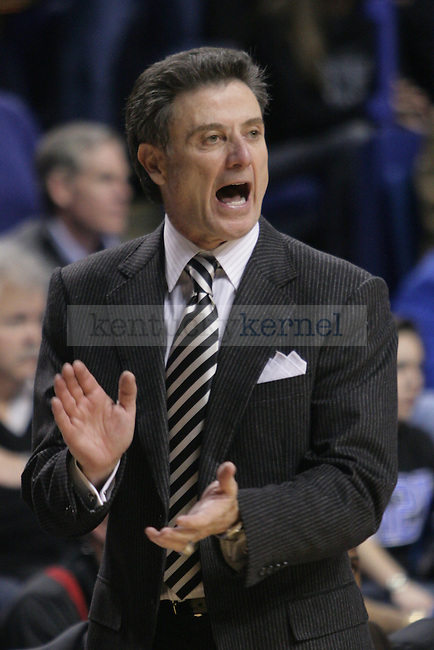 University of Louisville head coach Rick Pitino yells at his team during UK's 71-62 win over Louisville on Sat., Jan., 2, 2010 at Rupp Arena in Lexington, Ky. With this win, UK's record improves to 15-0...Photo by Ed Matthews | Staff