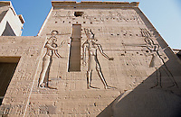 A side view of the Temple of Isis at Philae. Philae was at its height during the reigns of the Ptolemies in the Greco-Roman period and was the principal centre for the worship of Isis, the great goddess of magic.
