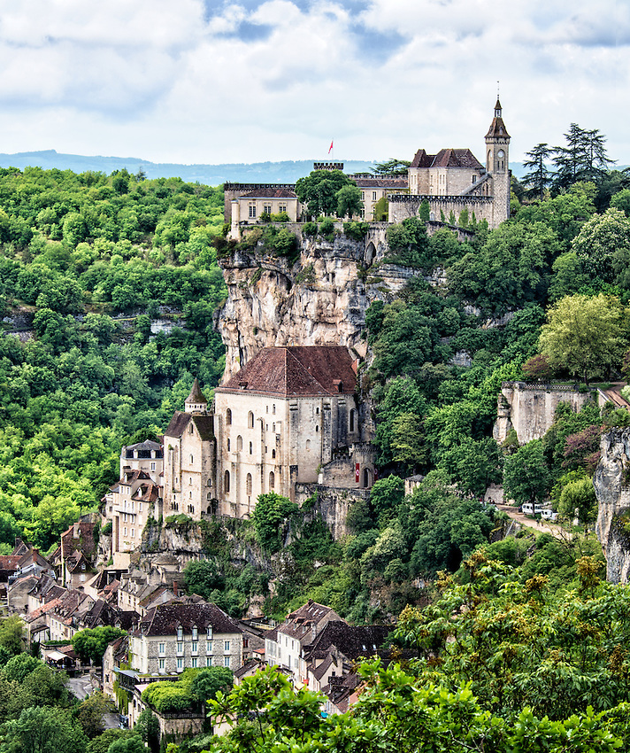 A view of the medieval pilgrimage village of Rocamadour, built into a cliff over a tributary of the Dordogne in the department of Lot. Rocamadour is the second most visited site in France.