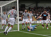 Craig Samson struggling in the St Mirren v Heart of Midlothian Clydesdale Bank Scottish Premier League match played at St Mirren Park, Paisley on 15.9.12.
