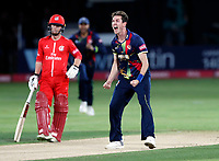 Adam Milne of Kent is pumped after bowling Arron Lilley during the T20 Quarter-Final game between Kent Spitfires and Lancashire Lightning at the St Lawrence ground, Canterbury, on Aug 23, 2018.