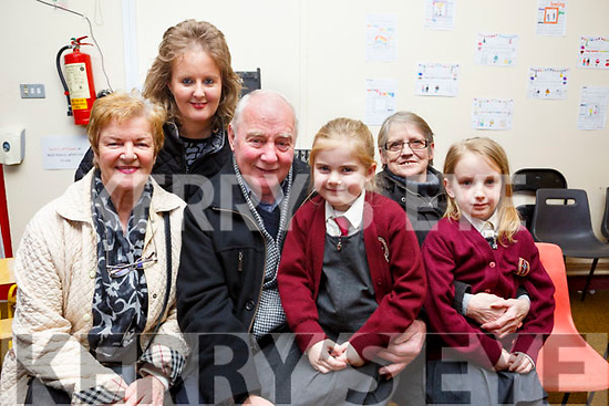 Helen, Michelle and Joe McElligott from Clash, Tralee with granddaughter Roisin Kerins and Mary Edwards with her granddaughter Kate Griffin enjoying Grandparents day at Moyderwell NS on Thursday.