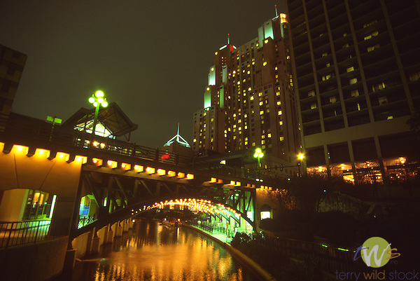 Night view of river, San Antonio