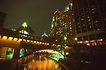 Night view of river, San Antonio