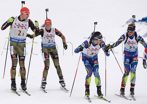 03.03.2016. Holmenkollen, Oslo, Norway.  (L-R) Arnd Peiffer and Franziska Hildebrand of Germany, Quentin Fillon Maillet and Marie Dorin Habert of France during the mixed relay competition at the Biathlon World Championships, in the Holmenkollen Ski Arena, Oslo, Norway, 03 March 2016.