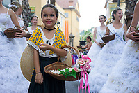Parade and distribution of flowers, in the streets of Grasse for the Jasmine Festival, France