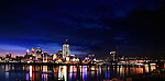 A New Building Under Construction In Cincinnati Ohio Just After Sunset, Taken From Newport Kentucky, Panoramic View