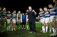 Bath Rugby first team coach Neal Hatley speaks to his team after the match. Aviva Premiership match, between Gloucester Rugby and Bath Rugby on March 26, 2016 at Kingsholm Stadium in Gloucester, England. Photo by: Patrick Khachfe / Onside Images