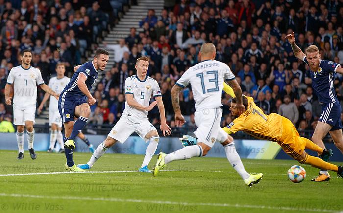 06.09.2019 Scotland v Russia, European Championship 2020 qualifying round, Hampden Park:<br /> John McGinn scores the opening goal past Guilherme