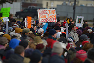 January 26, 2013  (Washington, DC)  Many protesters held signs during the March on Washington for Gun Control.  (Photo by Don Baxter/Media Images International)
