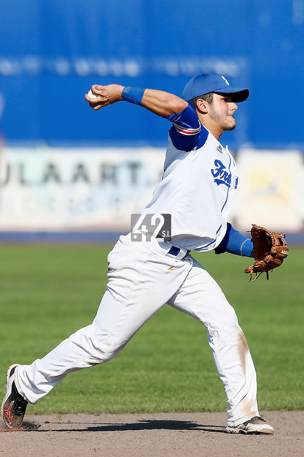09 September 2012: France Maxime Lefevre throws the ball to first base during France 9-8 win in over Belgium, at the 2012 European Championship, in Utrecht, Netherlands.