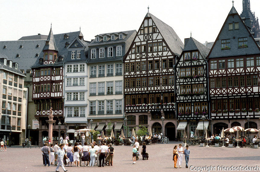 Frankfurt: Romerberg--historic Ostzeile--6 buildings reconstructed according to old plans, 1981-1986, forming the Eastern Row.