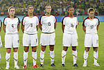 21 August 2008: Heather O'Reilly (USA) (9), Carli Lloyd (USA) (11), Kate Markgraf (USA) (15), Angela Hucles (USA) (16), and Lori Chalupny (USA) (17) during player introductions. The United States Women's National Team defeated Brazil's Women's National Team 1-0 after extra time at the Worker's Stadium in Beijing, China in the Gold Medal match in the Women's Olympic Football tournament.
