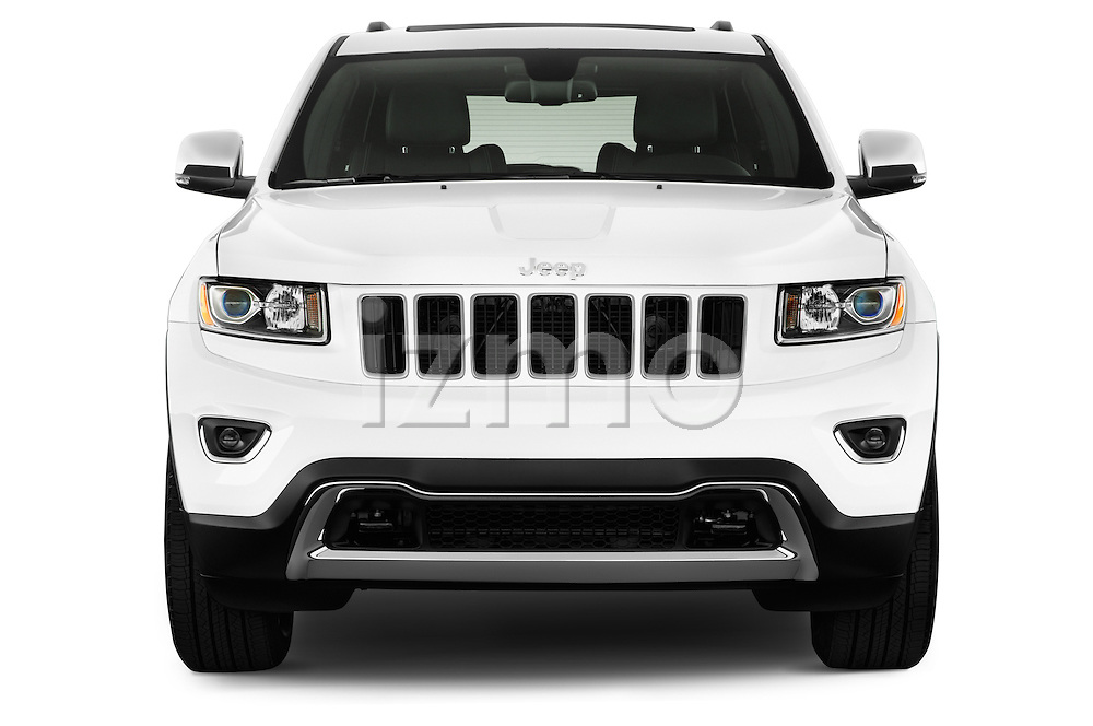 Car photography straight front view of a 2015 JEEP GRAND CHEROKEE Limited 5 Door SUV 4WD Front View